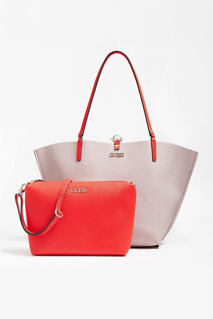 Guess γυναικεία τσάντα ώμου με μεταλλικό λογότυπο ''Alby'' 2