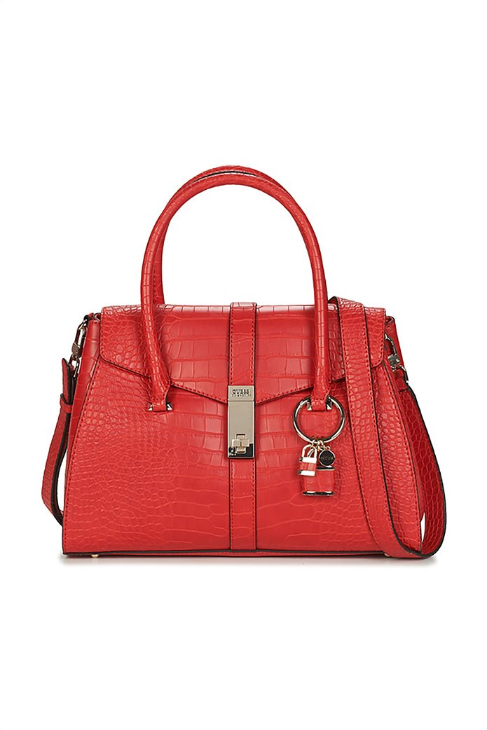 Guess γυναικεία τσάντα χειρός με croco print και διακοσμητικό μπρελόκ 0