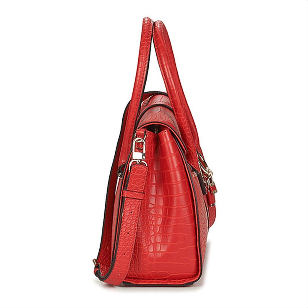 Guess γυναικεία τσάντα χειρός με croco print και διακοσμητικό μπρελόκ 2