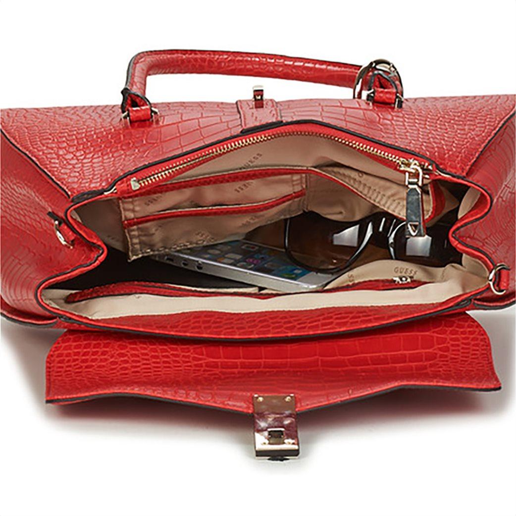 Guess γυναικεία τσάντα χειρός με croco print και διακοσμητικό μπρελόκ 3