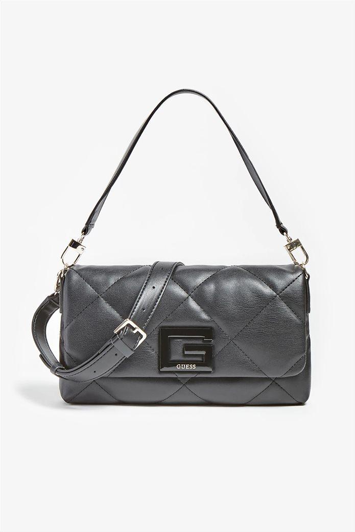 """Guess γυναικεία τσάντα ώμου καπιτονέ με μεταλλικό λογότυπο """"Brightside"""" Μαύρο 0"""