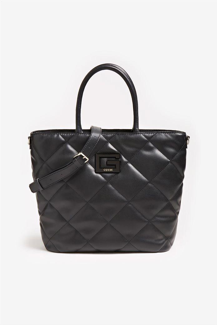 "Guess γυναικεία τσάντα χειρός καπιτονέ με μεταλλικό λογότυπο ""Brightside"" 0"