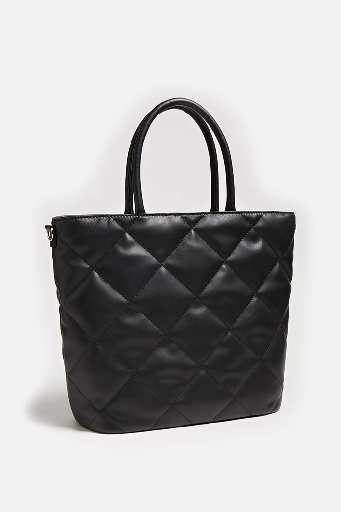 "Guess γυναικεία τσάντα χειρός καπιτονέ με μεταλλικό λογότυπο ""Brightside"" 2"