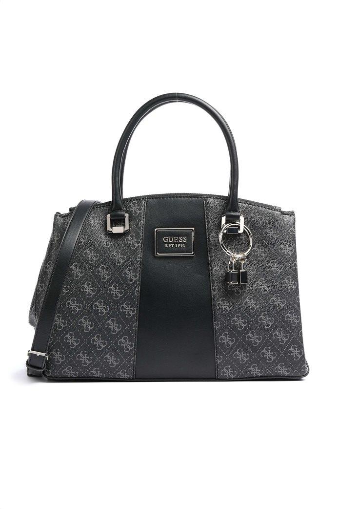 "Guess γυναικεία τσάντα χειρός με all-over logo print και διακοσμητικά λουκέτα ""Tyren"" Ανθρακί 0"