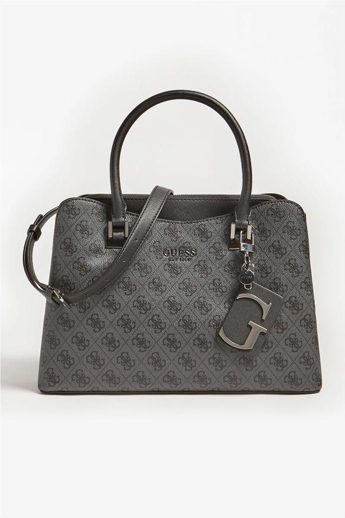 "Guess γυναικεία τσάντα χειρός με all-over logo print και διακοσμητικό μπρελόκ ""Mika"" Ανθρακί 0"