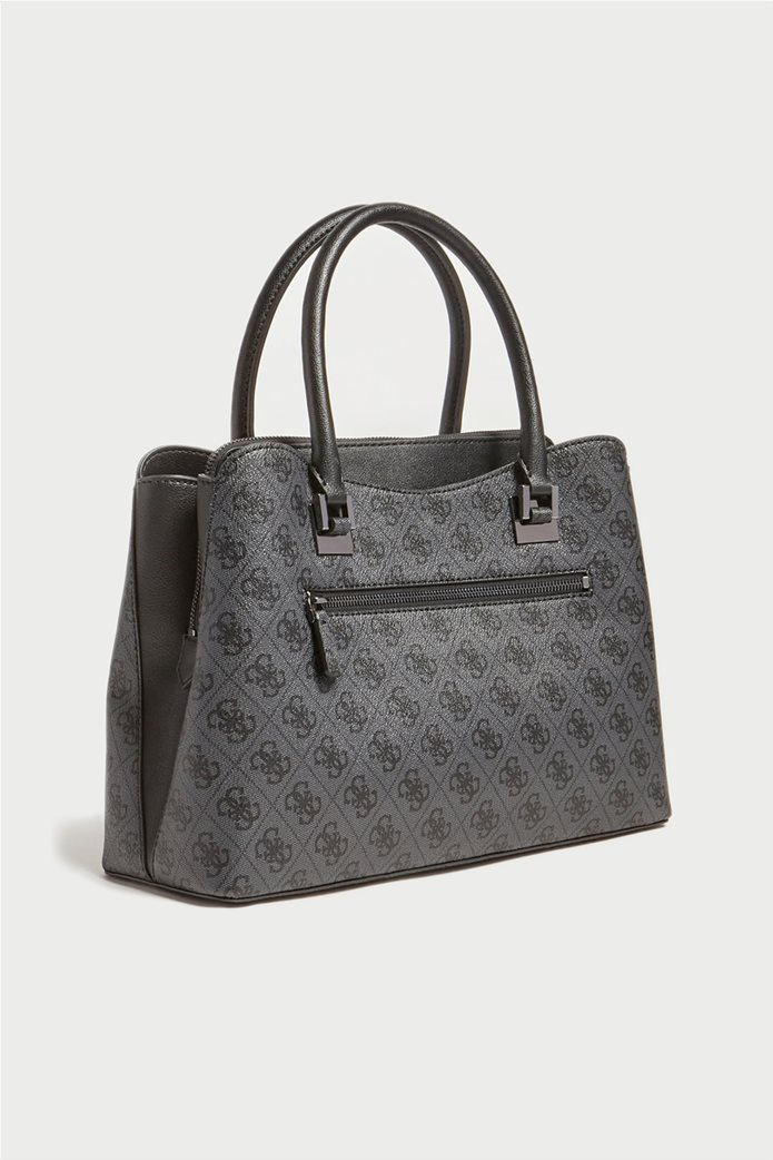 "Guess γυναικεία τσάντα χειρός με all-over logo print και διακοσμητικό μπρελόκ ""Mika"" Ανθρακί 1"