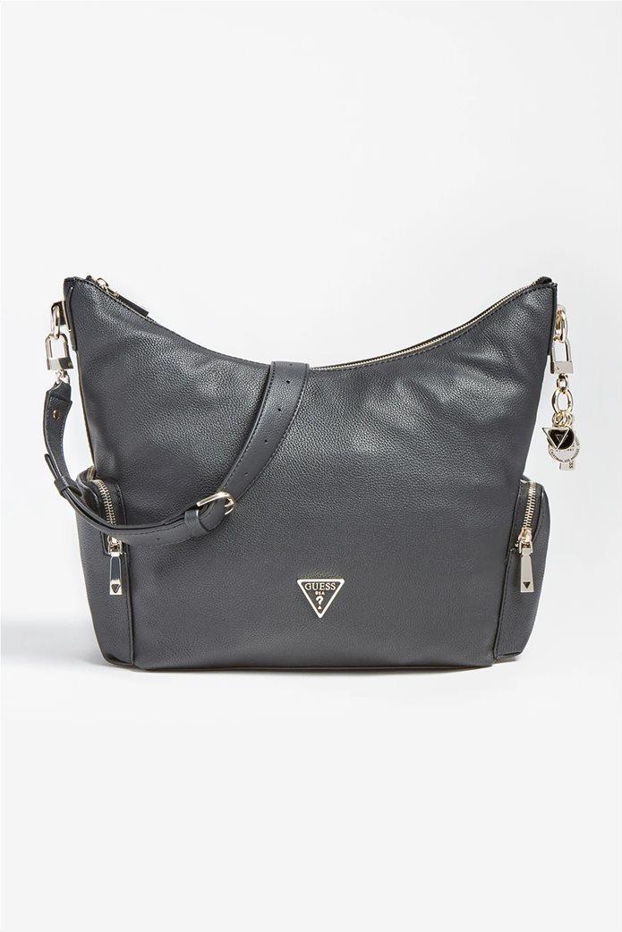 """Guess γυναικεία τσάντα ώμου με πλαϊνές θήκες και μεταλλικό logo """"Destiny"""" Μαύρο 0"""