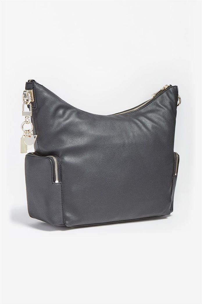 """Guess γυναικεία τσάντα ώμου με πλαϊνές θήκες και μεταλλικό logo """"Destiny"""" Μαύρο 1"""