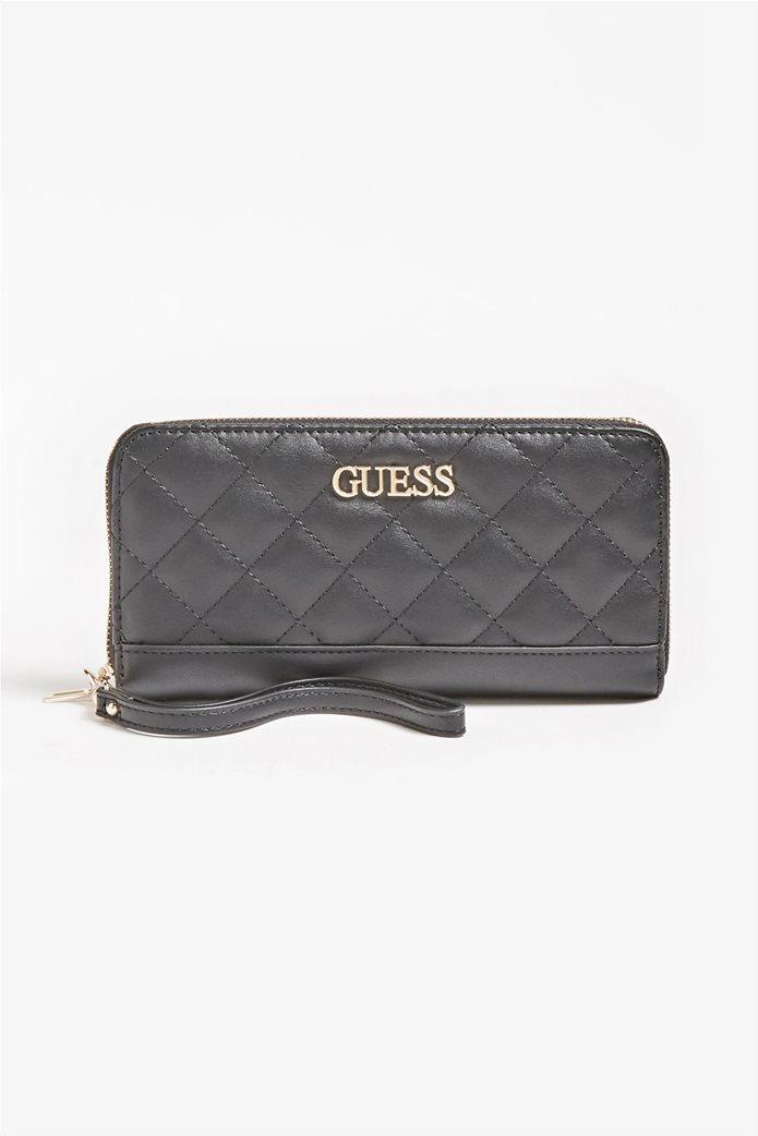"""Guess γυναικείο πορτοφόλι καπιτονέ με μεταλλικό λογότυπο """"Illy"""" 0"""