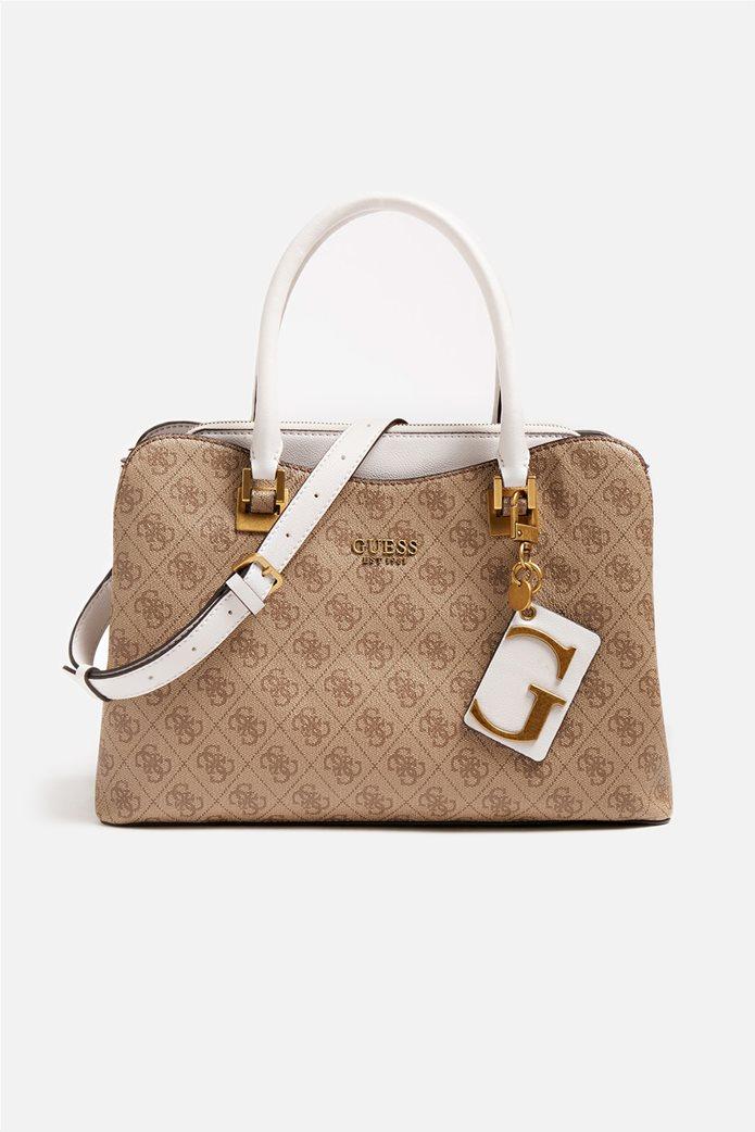 "Guess γυναικεία τσάντα χειρός με all-over logo print και διακοσμητικό μπρελόκ ""Mika"" Μπεζ 0"