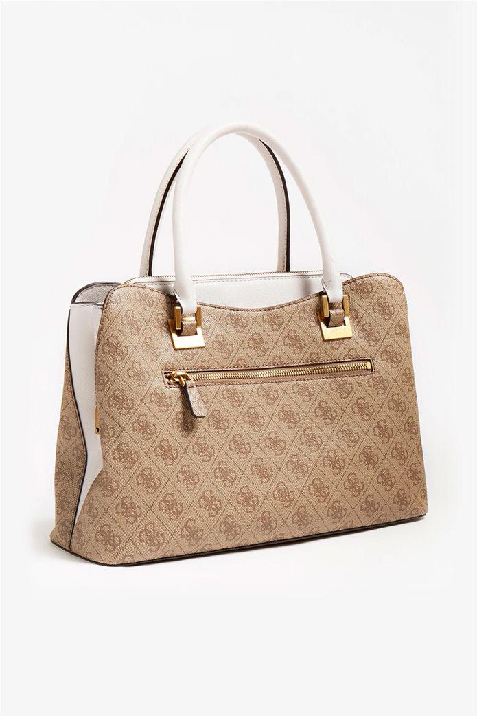 "Guess γυναικεία τσάντα χειρός με all-over logo print και διακοσμητικό μπρελόκ ""Mika"" Μπεζ 1"