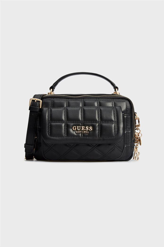 "Guess γυναικεία τσάντα χειρός καπιτονέ με εξωτερική θήκη ""Kamina"" 0"