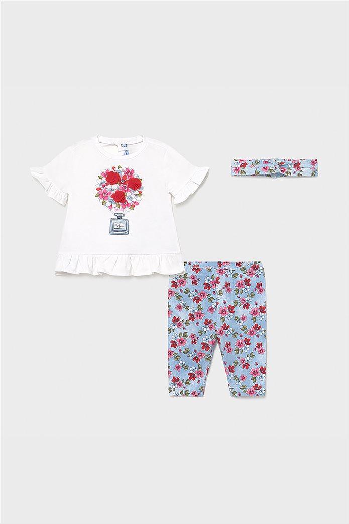 Mayoral βρεφικό σετ ρούχων μπλούζα με floral κολάν και κορδέλα (9-36 μηνών) 0