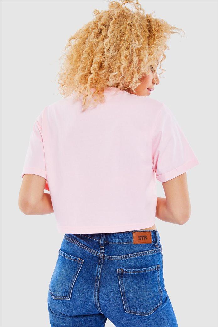 "Ellesse γυναικείο T-shirt cropped με logo print ""Alberta"" Ροζ 1"