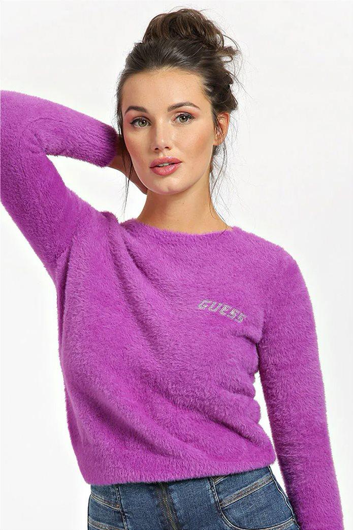 "Guess γυναικείο πουλόβερ με fluffy υφή και logo από στρας ""Rosmary"" 0"