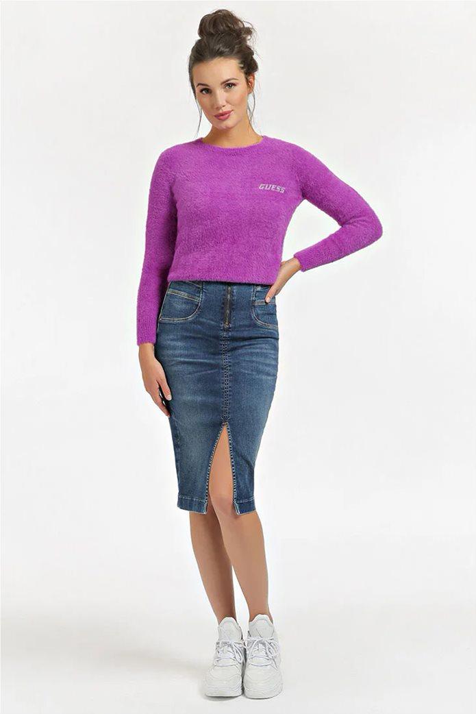 "Guess γυναικείο πουλόβερ με fluffy υφή και logo από στρας ""Rosmary"" 1"