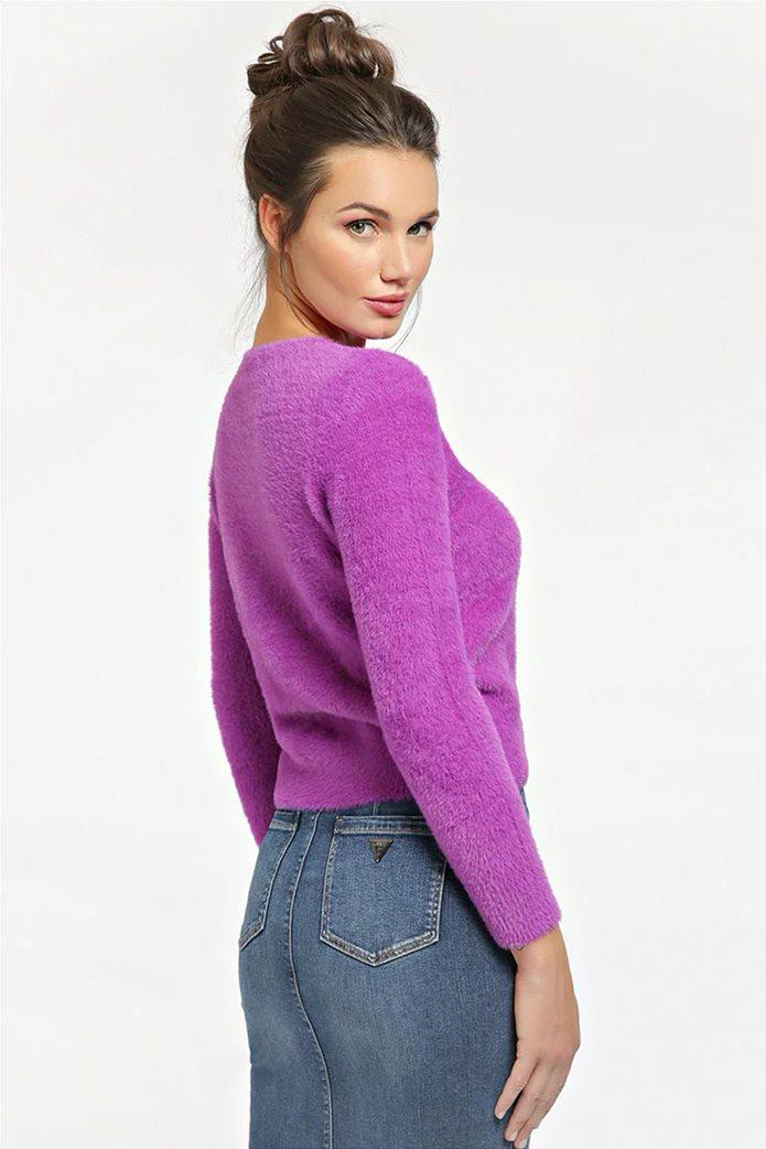 "Guess γυναικείο πουλόβερ με fluffy υφή και logo από στρας ""Rosmary"" 2"