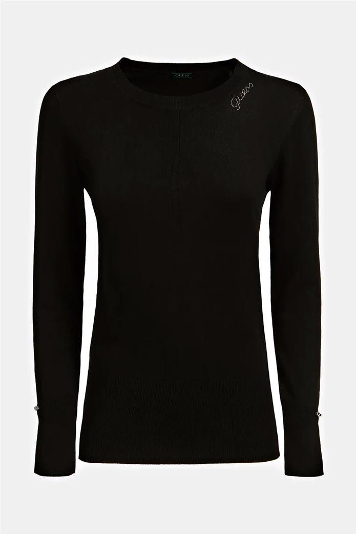 "Guess γυναικεία πλεκτή μπλούζα με διάτρητο σχέδιο και logo από στρας ""Wanda"" 3"
