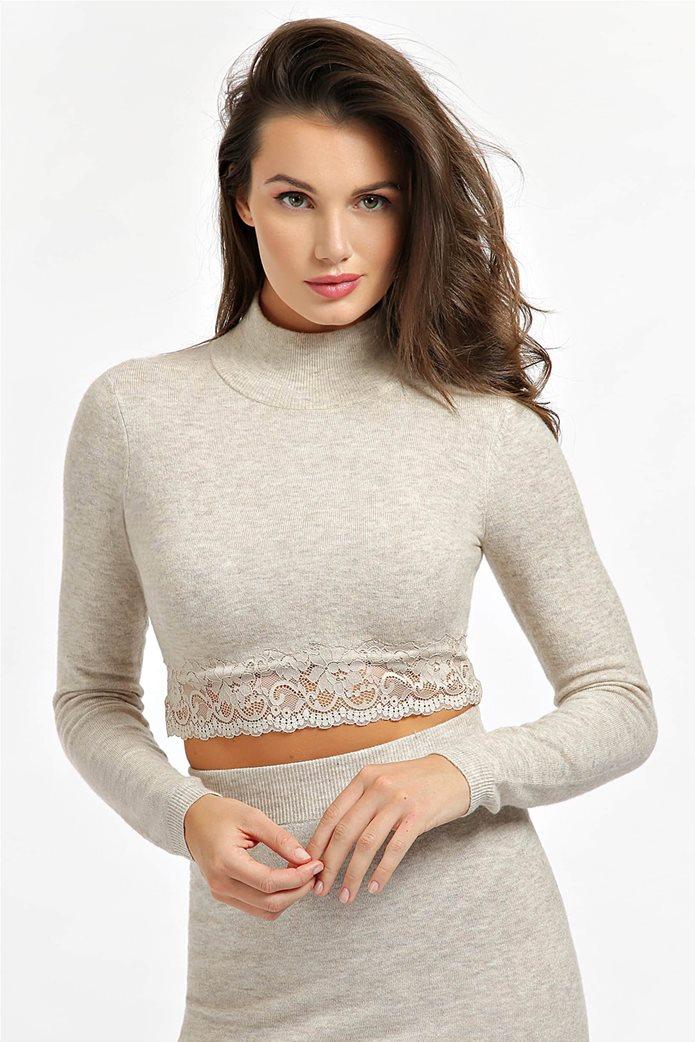 "Guess γυναικεία πλεκτή μπλούζα cropped με ψηλό λαιμό και δαντέλα ""Heike"" 0"