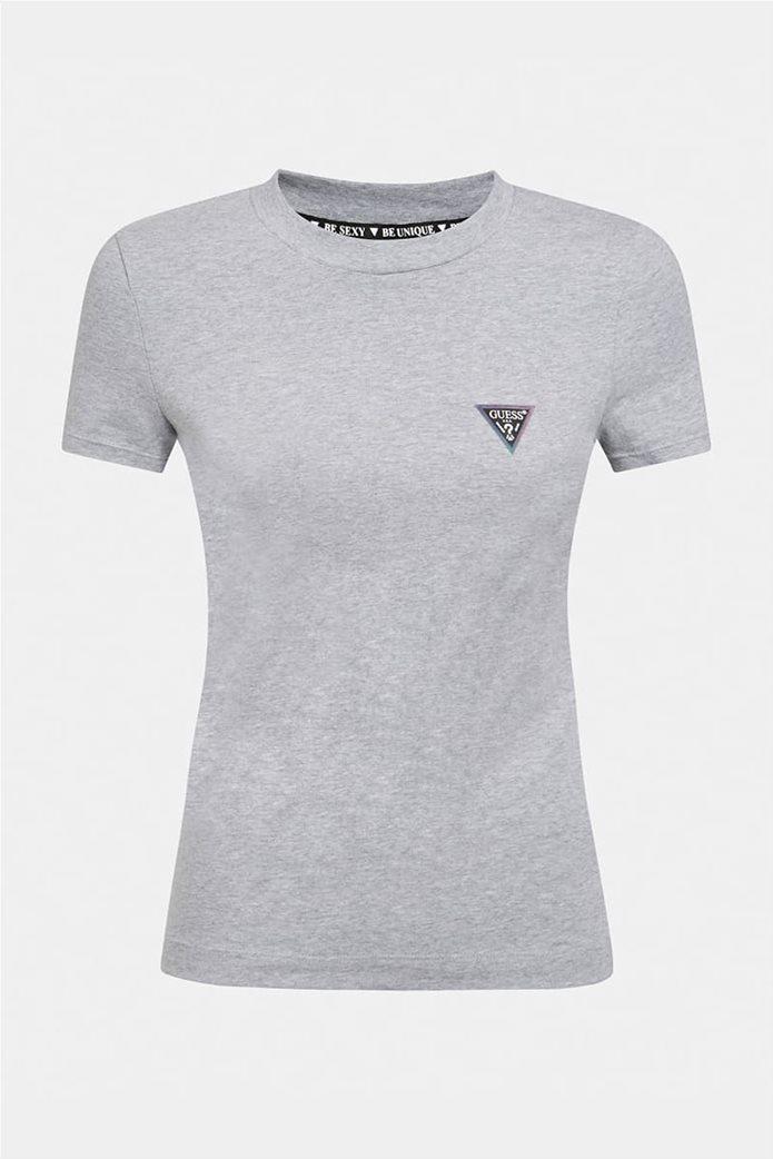 "Guess γυναικείο T-shirt με logo print ""Mini Triangle Tee"" 3"