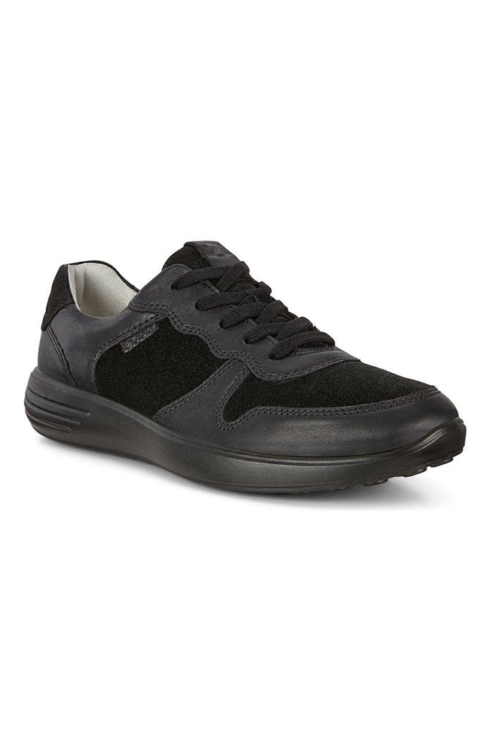 ECCO  ανδρικά δερμάτινα sneakers με κορδόνια Μαύρο 1