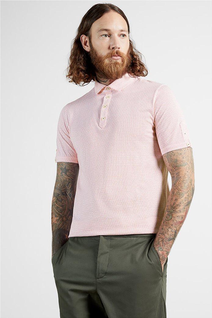 """Ted Baker ανδρική πόλο μπλούζα με all-over print """"Limbo"""" Κόκκινο 0"""