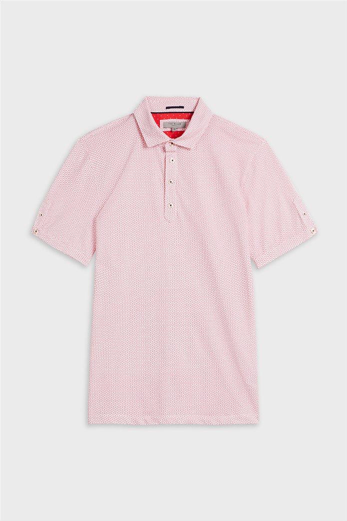"""Ted Baker ανδρική πόλο μπλούζα με all-over print """"Limbo"""" Κόκκινο 3"""