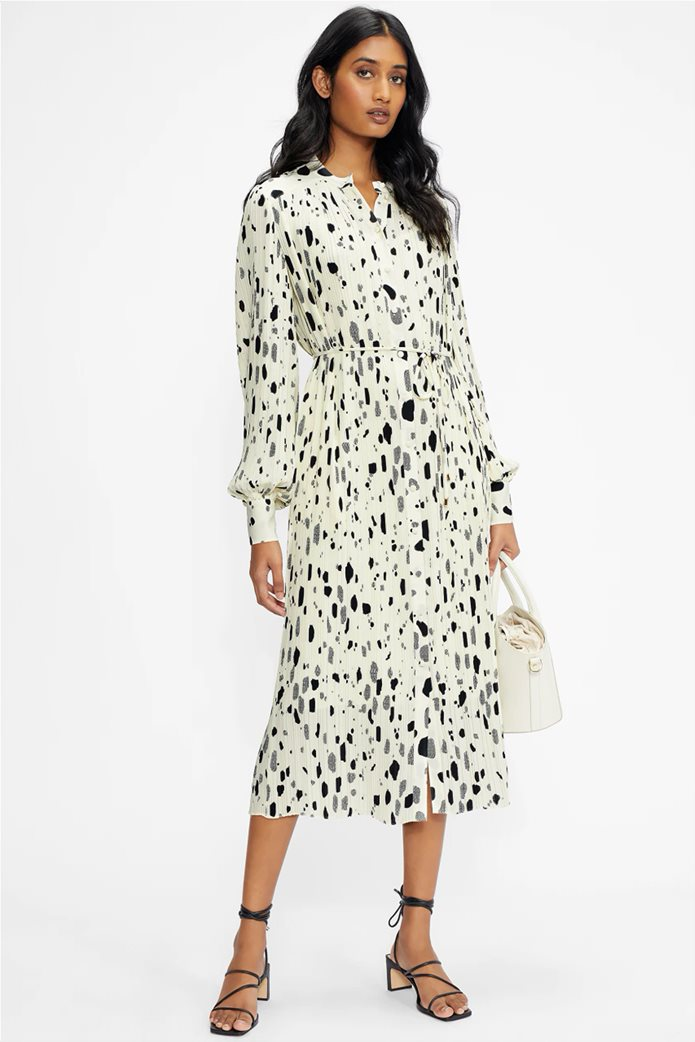 Ted Baker γυναικείο midi φόρεμα σεμιζιέ με ζώνη στη μέση Εκρού 0