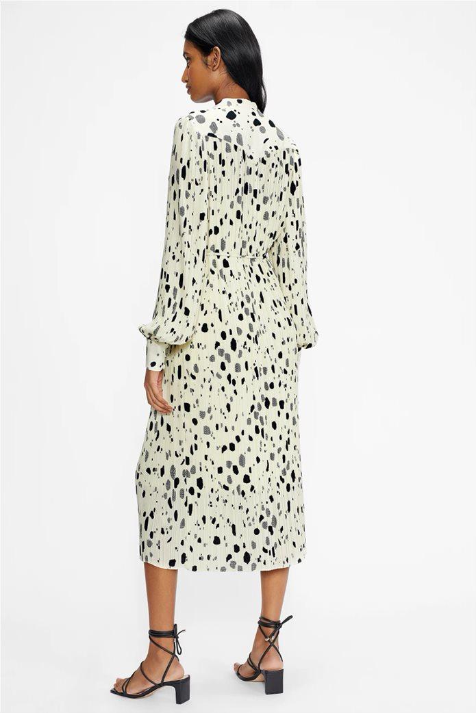 Ted Baker γυναικείο midi φόρεμα σεμιζιέ με ζώνη στη μέση Εκρού 2
