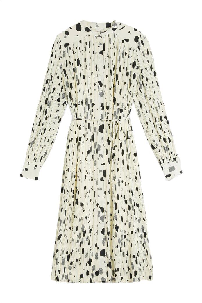 Ted Baker γυναικείο midi φόρεμα σεμιζιέ με ζώνη στη μέση Εκρού 5