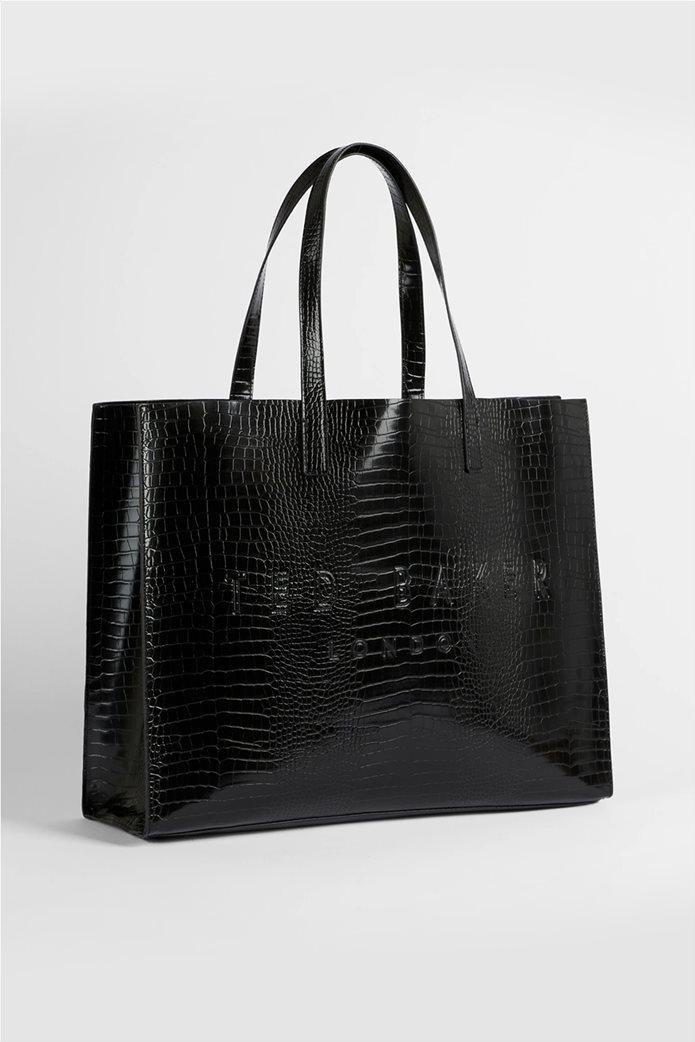Ted Baker γυναικεία τσάντα ώμου με all-over croco print και ανάγλυφο λογότυπο ''Allicon'' Μαύρο 0