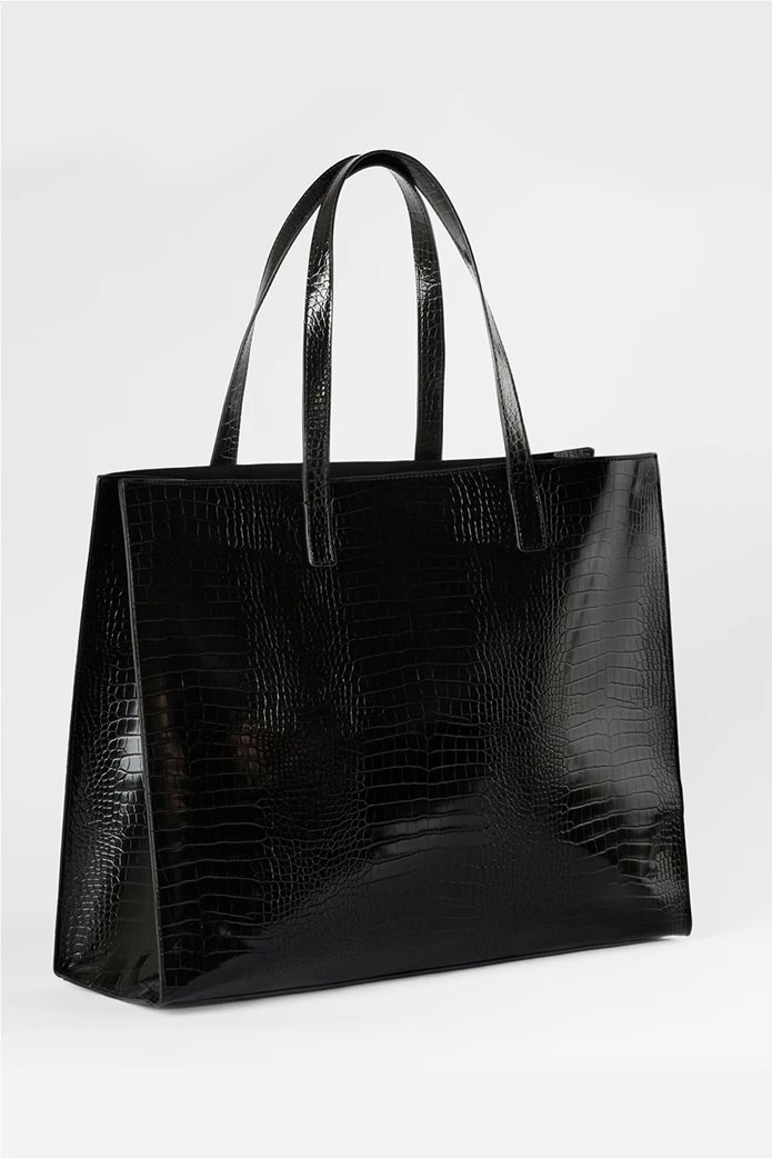 Ted Baker γυναικεία τσάντα ώμου με all-over croco print και ανάγλυφο λογότυπο ''Allicon'' Μαύρο 1
