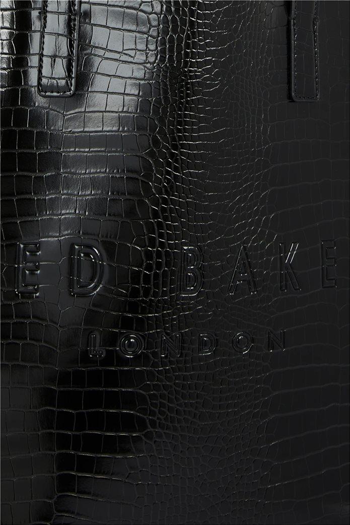 Ted Baker γυναικεία τσάντα ώμου με all-over croco print και ανάγλυφο λογότυπο ''Allicon'' Μαύρο 2
