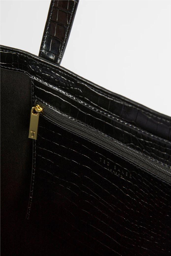 Ted Baker γυναικεία τσάντα ώμου με all-over croco print και ανάγλυφο λογότυπο ''Allicon'' Μαύρο 3