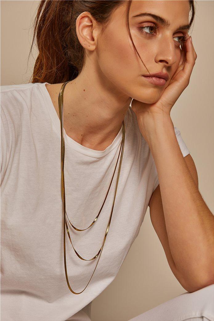 The Fashion Desk γυναικείo κολιέ μακρύ με τριπλή αλυσίδα επιχρυσωμένο 60,5 cm 2