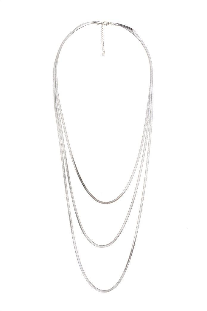 The Fashion Desk γυναικείo κολιέ μακρύ με τριπλή αλυσίδα επιχρυσωμένο 60,5 cm 0