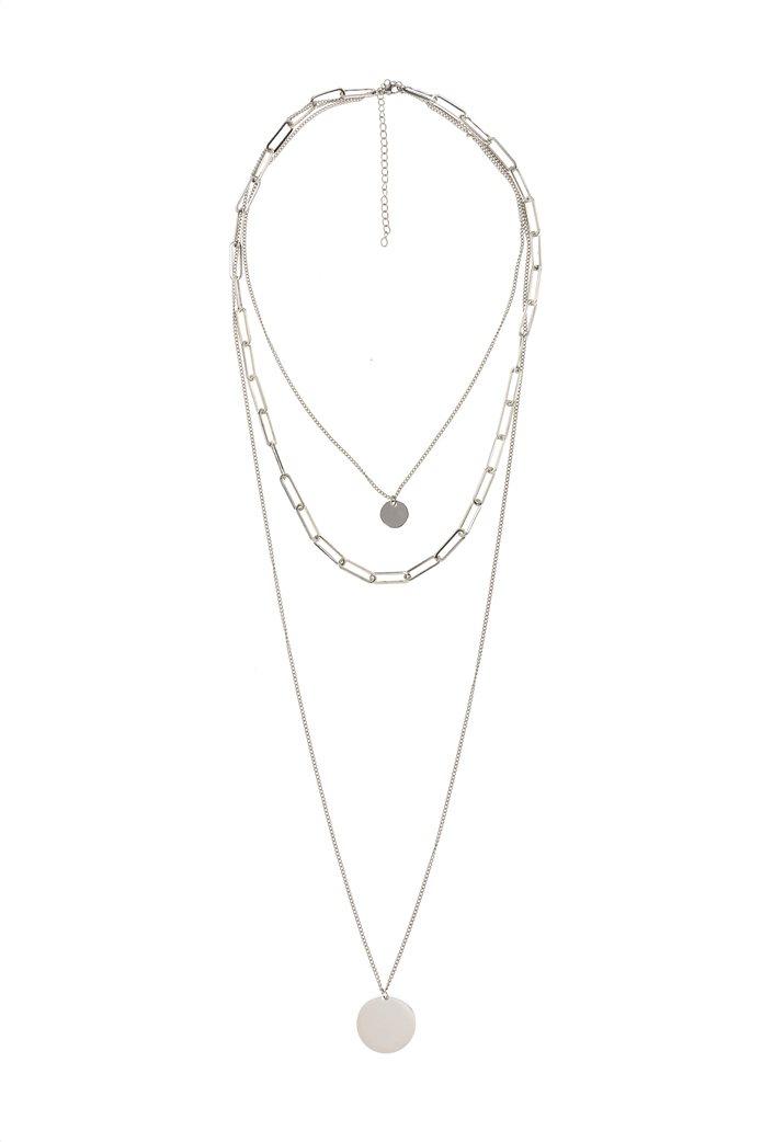 The Fashion Desk γυναικείo κολιέ με τριπλή αλυσίδα και μενταγιόν επιχρυσωμένο 36.5 cm 0