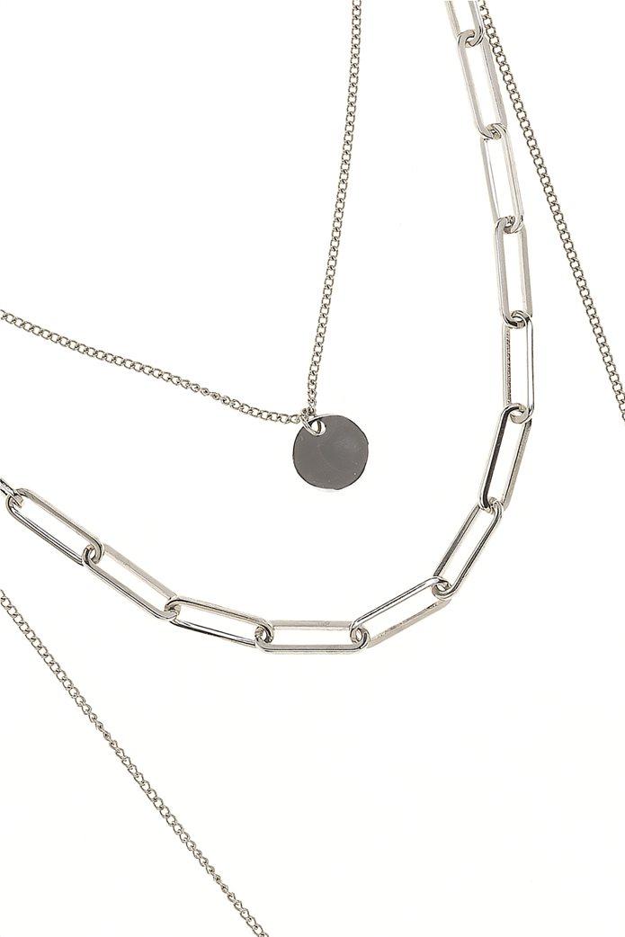 The Fashion Desk γυναικείo κολιέ με τριπλή αλυσίδα και μενταγιόν επιχρυσωμένο 36.5 cm 1