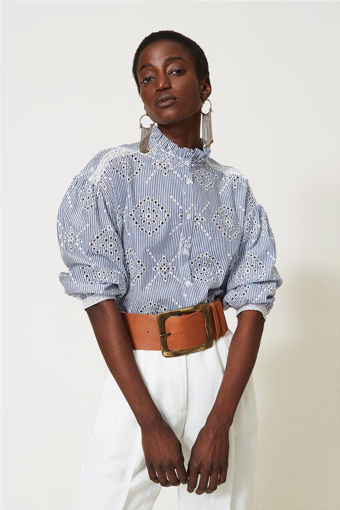 Twinset γυναικείο πουκάμισο ριγέ με balloon μανίκια και διάτρητο κεντημένο σχέδιο 0