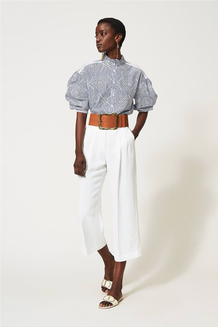 Twinset γυναικείο πουκάμισο ριγέ με balloon μανίκια και διάτρητο κεντημένο σχέδιο 1