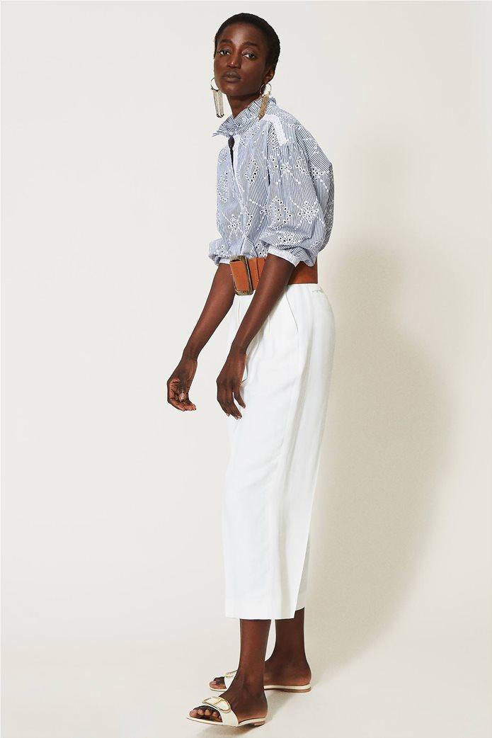 Twinset γυναικείο πουκάμισο ριγέ με balloon μανίκια και διάτρητο κεντημένο σχέδιο 2