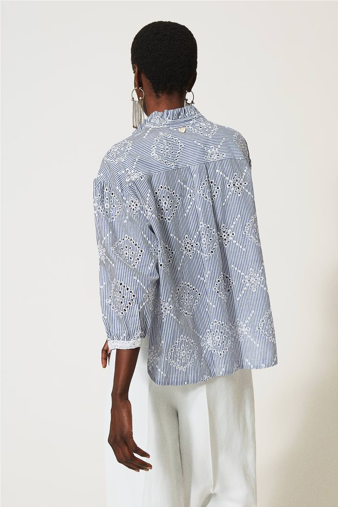 Twinset γυναικείο πουκάμισο ριγέ με balloon μανίκια και διάτρητο κεντημένο σχέδιο 3