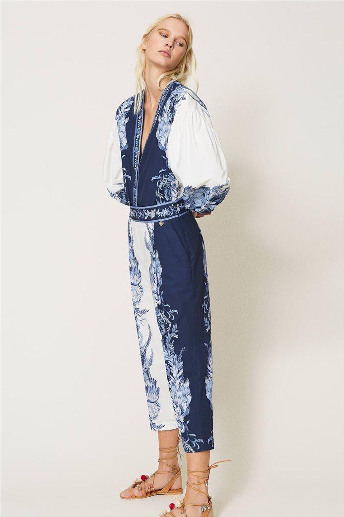 Twinset γυναικείο cropped παντελόνι με floral print Λευκό - Μπλε 0