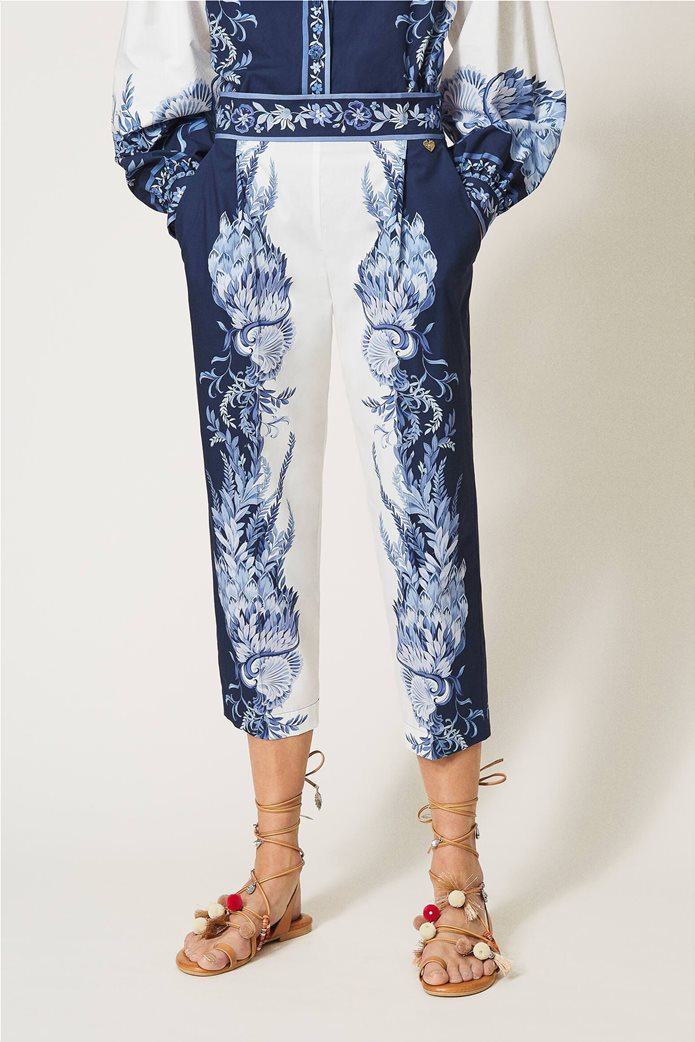 Twinset γυναικείο cropped παντελόνι με floral print Λευκό - Μπλε 1