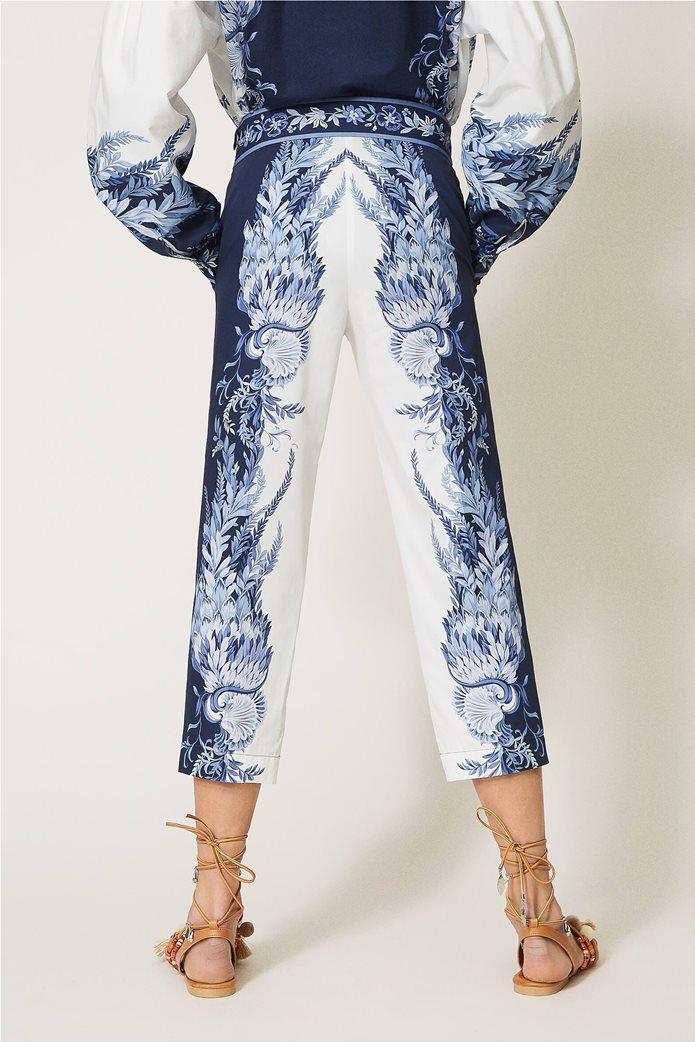 Twinset γυναικείο cropped παντελόνι με floral print Λευκό - Μπλε 2