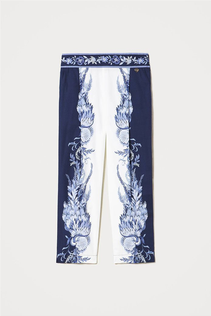 Twinset γυναικείο cropped παντελόνι με floral print Λευκό - Μπλε 3