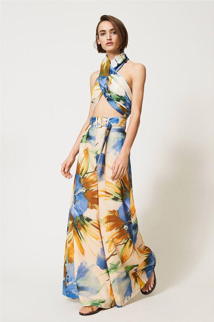 "Twinset γυναικεία παντελόνα ""Summer Hibiscus Print"" 0"