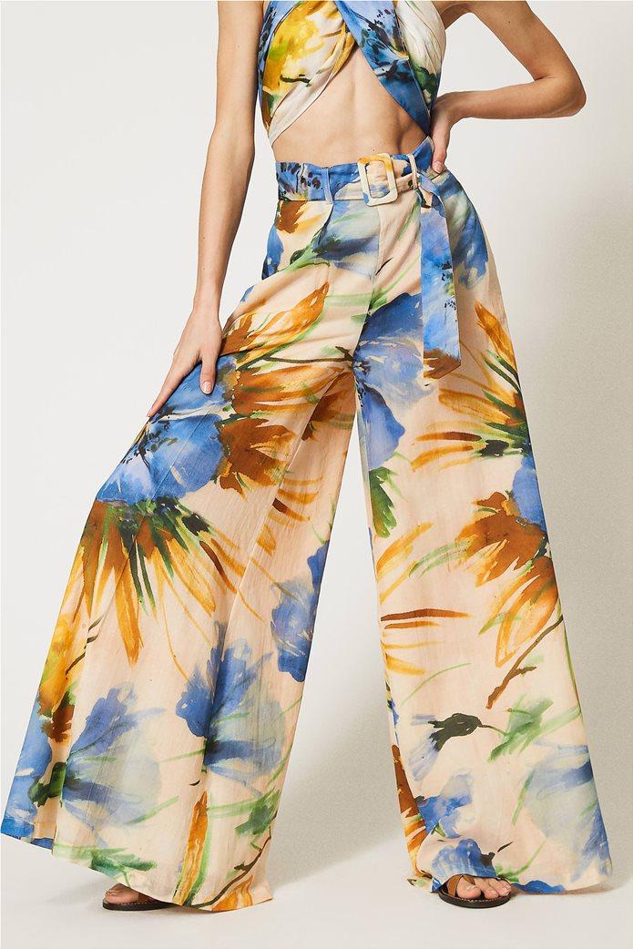"Twinset γυναικεία παντελόνα ""Summer Hibiscus Print"" 1"