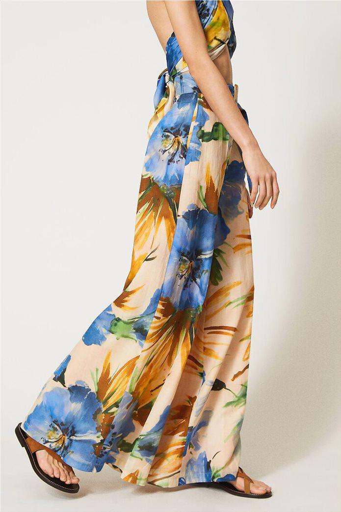 "Twinset γυναικεία παντελόνα ""Summer Hibiscus Print"" 3"