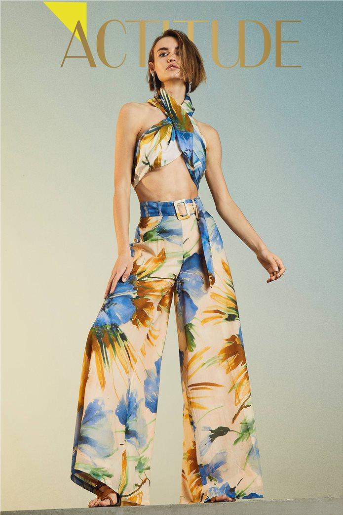 "Twinset γυναικεία παντελόνα ""Summer Hibiscus Print"" 5"